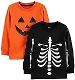 Simple Joys by Carter's Boys' Toddler 2-Pack Halloween Long-Sleeve Tees, Pumpkin/Skeleton, 4T