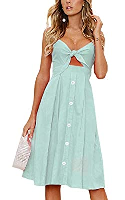Attention: For the solid colored ones, it buttons down all the way in the front, and the spaghetti straps are adjustable. But for the floral printed ones, the buttons are decorative only, the spaghetti straps are not not adjustable. Material: Polyest...