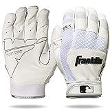 Franklin Sports MLB Batting Gloves - Shok Sorb Adult + Youth Batting Gloves - White - Padded Men's Batting Gloves for Baseball + Softball - Adult Medium