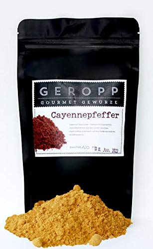 Geropp Gourmet Cayennepfeffer gemahlen 250 g : feurig scharfes Chilipulver (20000 Scoville) im wiederverschließbaren Aromabeutel
