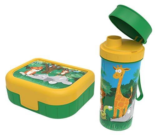 """Rotho Memory Kids Set Brotdose mit Trinkflasche , Kunststoff (BPA-frei), grün/gelb mit Motiv \""""Dschungel\"""", 2er Set"""