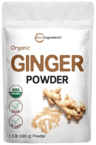 Micro Ingredients Organic Ginger Powder, 1.5 Pounds (24 Ounces), Strong Flavor and Highly Aromatic, Best for Cooking, Baking, Tea & More, Non-GMO
