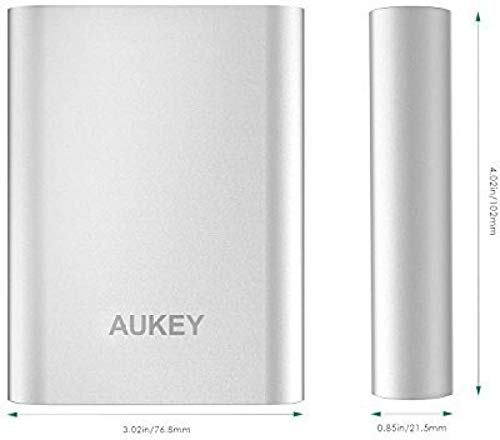 AUKEY 10050mAh Portable Charger with Qualcomm Quick Charge 3.0 for Samsung Galaxy S8/S8+, LG G5/G6, HTC 10 and More - Silver