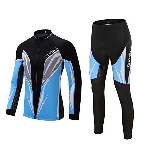 GWELL Herren Radtrikot Set Fahrrad Trikot Langarm + Radhose mit Sitzpolster blau L