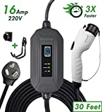PRIMECOM Level 2 EV Charger 220/240V, 16A, 30ft & 50ft, Portable EVSE Electric Vehicle Charging Cable Compatible with Bolt Volt Leaf BMW i3 Fiat 500e Clarity NIRO Prius (30 Feet, 10-30P)