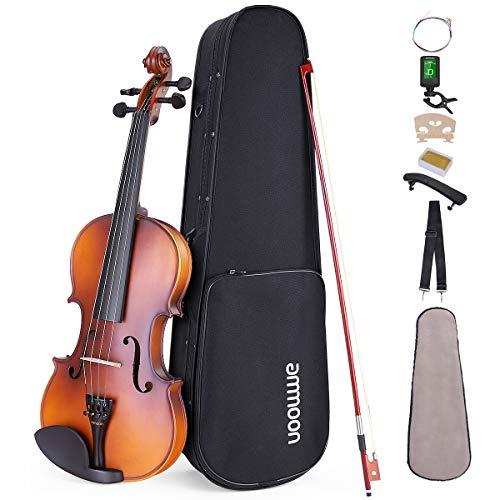 ammoon バイオリン セット マット アコースティック ケース 弓 肩当て ロジン チューナー 弦 付き (3/4) 【5,280円~!】安いヴァイオリン特集!バイオリンが1万円以下から買える!安いので始めてみたい・初心者にオススメ!【アコースティック・エレキヴァイオリン】