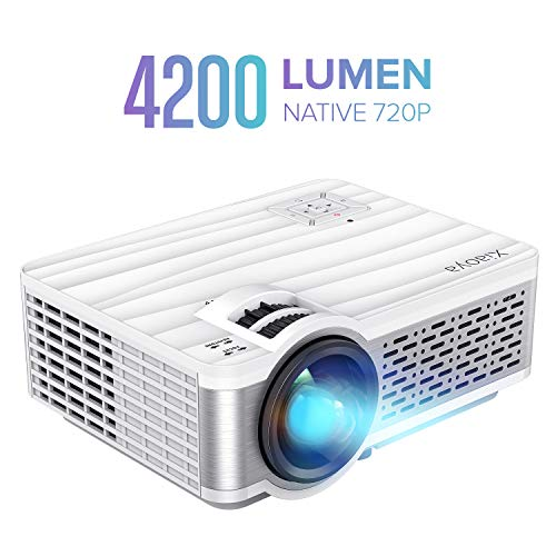 XIAOYA W5 4200 Lumen Mini Movie Projector with HiFi Speaker, Native 720P Video Projector Support 1080P Display for Home Theater Entertainment, Compatible with HDMI, SD, AV, VGA, USB