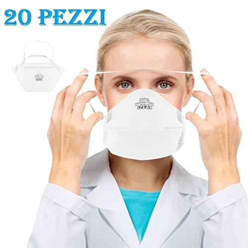 20pz FF-P2 Non Tessuto,a 4 Strati,Migliore Protezione in Smog, Luog
