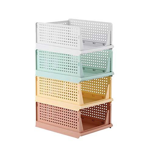 Kertou Set di 4 Organizer impilabili per Guardaroba contenitori impilabili per Armadio cassettiere portaoggetti Organizer in plastica Estraibili Come Un cassetto