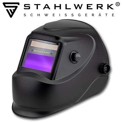 STAHLWERK ST-450R Automatik Schweißhelm vollautomatisch abdunkelnd, einstellbare Parameter, inkl. 5 Ersatzscheiben, 5 Jahre GARANTIE* auf FILTER, schwarz