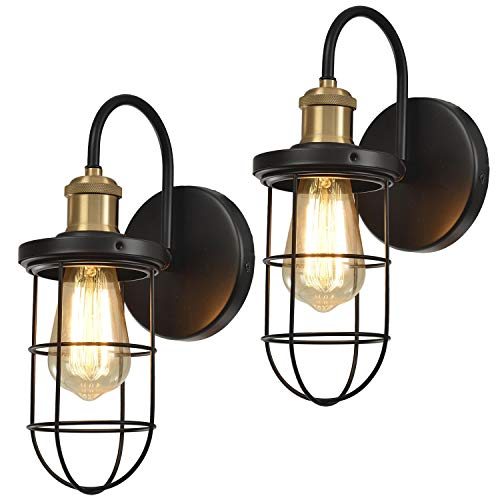 Hamilyeah Farmhouse Wall Sconces with Cage Shade, Industrial Hardwired Sconces Wall Lighting Fixture,Gooseneck Black and Gold Wall Light Indoor Set of Two for Bathroom, Bedroom, Living Room, UL listed
