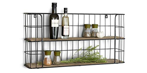 LIFA LIVING Rectangle Wall Shelf Unit, 2 Tier Wooden and Black Metal Floating Shelves, Kitchen Spice Rack, Pre-assembled Decorative Hanging Shelves (Kitchen & Home)