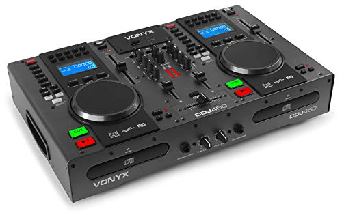 Vonyx CDJ450 DJ Workstation - 2 Lettori CD Compatibili con MP3, Funzione Bluetooth, 2 Porte USB, Mixer a 2 Canali, Media Player, Ricerca Cartella Integrata, Maniglie