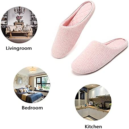 Temi Womens Memory Foam House Slippers Indoor,Lightweight Soft Cozy Home Slippers for Women Slip On,Comfy Women's Washable Cotton Bedroom Slippers Closed Toe Size Gray Pink Blue