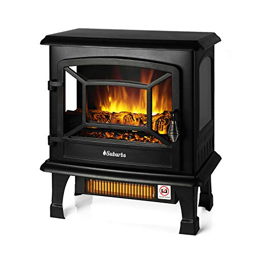 TURBRO Suburbs TS20 Electric Fireplace Infrared Heater, Freestanding Fireplace Stove with Realistic Dancing Flame Effect - CSA Certified - Overheating Safety Protection - Easy to Assemble - 20' 1400W