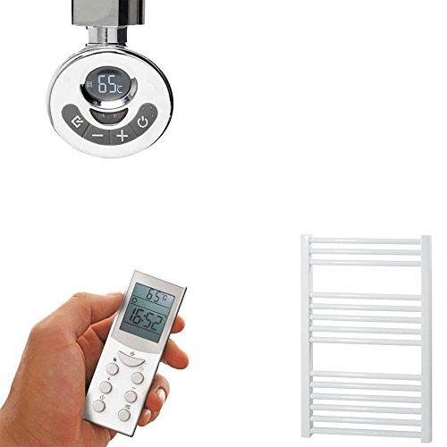Radiador toallero eléctrico recto blanco 60 x 80 cm con mando 24/7 programable