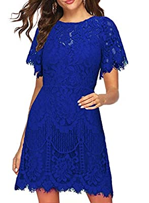 Polyester, LACE Fabric IS NOT Elasticity!!! but is soft. SIZE: Please compare other buyers review, thank you! Design: Round neck, fluttering short sleeve, or sleeveless , lined, above the knee, Mid-thigh. lovely eyelash lace, V-back with hidden zippe...