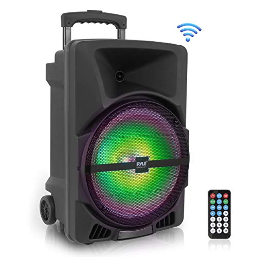 Wireless Portable PA Speaker System -1200W High Powered Bluetooth Compatible Indoor and Outdoor DJ Sound Stereo Loudspeaker w/ USB SD MP3 AUX 3.5mm Input, Flashing Party Light & FM Radio -PPHP1544B