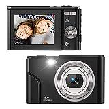 Zostuic Digital Camera 36 Mega Pixels Small Camera 1080P Vlogging Camera Portable Camera with 16X Digital Zoom, 2 Batteries Kids Camera for Students, Teens(Black)