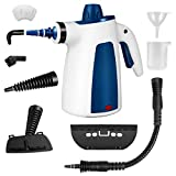 VleOak Handheld Pressurized, 1050W Household Cleaning 350ML with 9-Piece Accessories for Multi-Surface Stain Removal, Floor Steamer, Counters, Window, Curtains, Carpets, Car Seats, Blue, normal