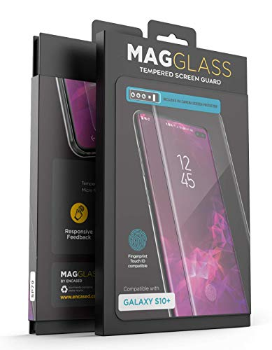 Magglass Samsung Galaxy S10 Plus Tempered Glass Screen Protector w/in Screen Fingerprint Sensor - Anti Bubble UHD Clear Scratch Resistant Display Guard for S10+ (Case Compatible)