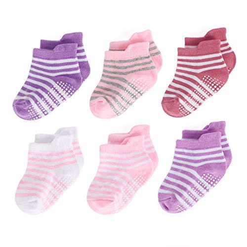 LACOFIA 6 Paia Calzini a righe antiscivolo per bambina Set di calze da neonata in cotone traspirante 0-1 anni