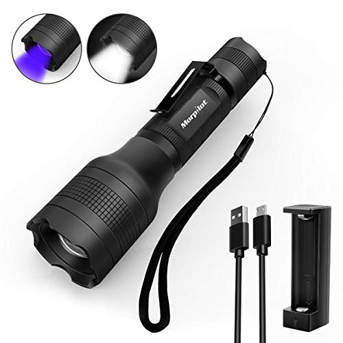 2 in 1 UV Lampe, Morpilot USB wideraufladbare uv Taschenlampe, Schwarzlicht und Weisses Licht, 500lm, 395nm Ultraviolett, Detektor fuer Urin von Haustiere, inkl. 18650 Batterie
