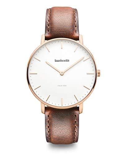 Lambretta Classico 40 Rose Gold White Brown Edelstahl IP Rosegold Weiß Leder Braun Vintage Herren Uhr