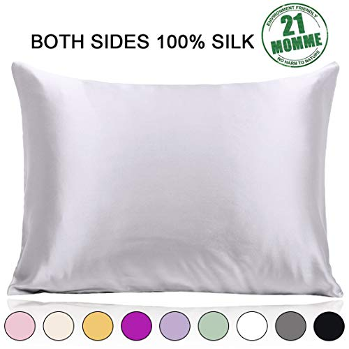 100% Pure Mulberry Silk Pillowcase Standard Size 21 Momme...