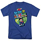 Teen Titans Go! Adult T Shirt & Stickers (Large) Royal Blue