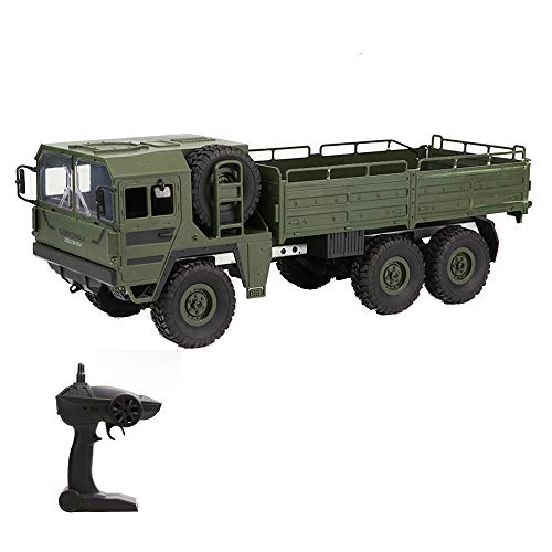 Goolsky Jjr/C Q64 1: 16 Rc Off-Road Military Truck 2.4G 6WD Car with Head Lights 500G Load RC Pickup Car Gift for Kids