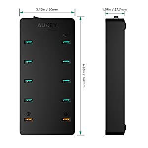 AUKEY 10-Port USB Charging Station with Quick Charge 3.0 & 70W USB Charger for Samsung Galaxy Note8, iPhone X / 8 / Plus, iPad Pro / Air 2 and More