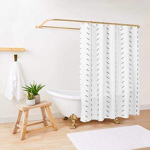 Boho Shower Curtain / Boho White and Black Shower Curtain / Standard...