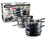 GRANITESTONE 2660 Granite Stone Stack Master 10 Piece Cookware Set, Large, Black