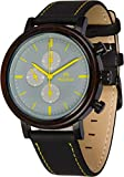 Maui Kool Steel and Wood Hybrid Chronograph Watch for Men Wailea Collection Leather Band Bamboo Box (W5 - Grey and Yellow)