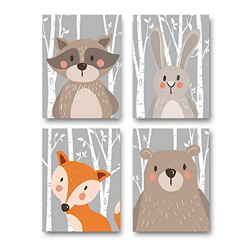 4er Set Kinderzimmer Babyzimmer Poster Bilder Din A4 | Mädchen Junge Deko | Dekoration Kinderzimmer | Waldtiere Safari Skandinavisch(Bär,Kaninchen,Fuchs) Grauer Boden