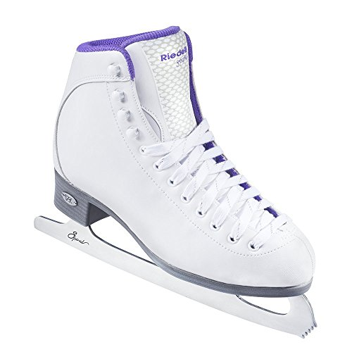 Riedell Skates - 118 Sparkle - Beginner Soft Figure Ice Skates with Stainless Steel Spiral Blade | White | Size 4