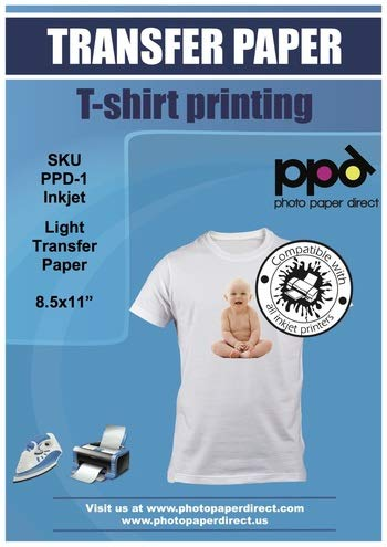PPD Inkjet Iron-On White and Light Colored T Shirt Transfers Paper LTR 8.5x11 Pack of 20 Sheets (PPD001-20)