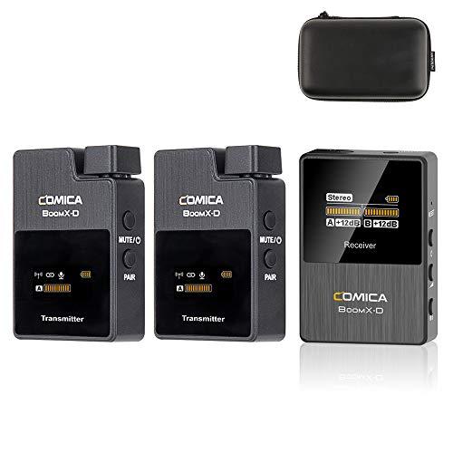 Comica BoomX-D D2 2.4G Funkmikrofon mit Zwei Sendern und einem Empfänger für Kameras, Geringe Latenz <22 ms, Arbeitsbereich bis zu 50 m, LCD-Display, unterstützt Echtzeit-Audiomonitor