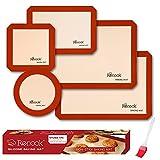 Renook Silicone Baking Mats Set of 6, BPA-Free Grade Food Baking mat, 100% Non-Stick Reusable Food Safe Liners & Silicone Brush- Macaron, Pastry, Cookie.