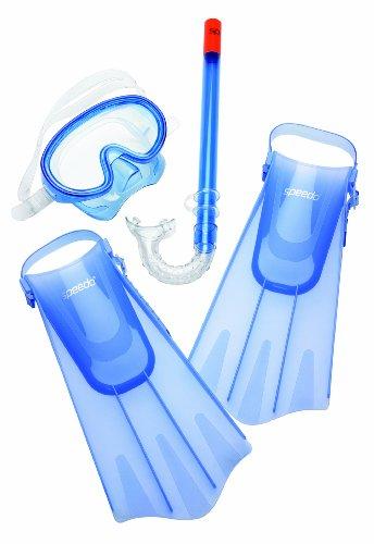 Speedo Unisex-Child Aqua Quest Swim Mask, Snorkel & Fins Set Blue Ocean, Small/Medium