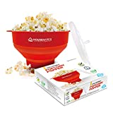 Collapsible Silicone Microwave Hot Air Popcorn Popper Bowl With Lid...