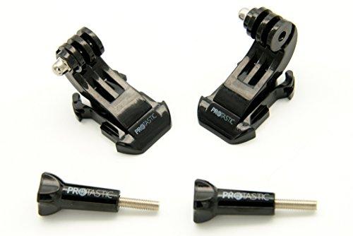 PROtastic 2x J-Hook Fibbia a sgancio rapido e vite per GoPro Hero/SJCAM Action Camera (Caschi Ciclismo, Arrampicata ecc.)