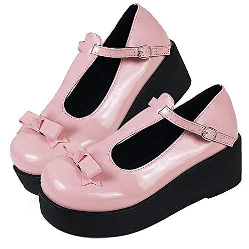 AOSPHIRAYLIAN Mary Jane Goth - Zapatos de tacón con plataforma y correa en T para mujer, (1 rosa), 39 EU