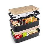 homeasy Scatola Bento 2 Contenitori Separati Lunch Box con Set di Posate e Borsa Pranzo, Adatto a Microonde e Lavastoviglie per Adulti e Bambini