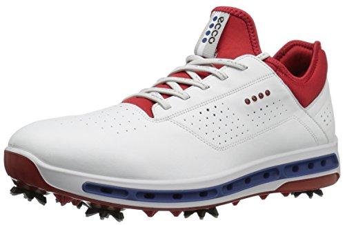 ECCO Men's Cool 18 Gore-TEX Golf Shoe, White/Tomato, 44 M EU (10-10.5 US)