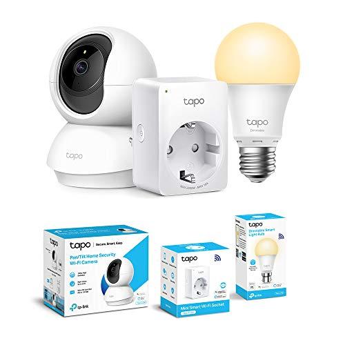 Cámara Wi-Fi para interiores TP-Link, cámara de vigilancia 1080P + enchufe inteligente WiFi + bombilla Wi-Fi TP-Link E27