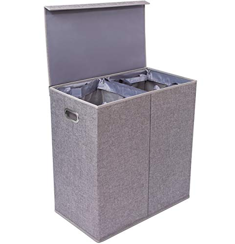 BirdRock Home Premium Double Laundry Hamper with Lid and Removable Liners - Linen Hampers - Grey Foldable Bin - Easily Transport Clothes - Cut Out Handles  Clothes Basket