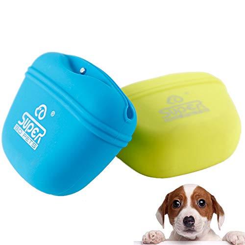 Kaelan 2 Pack-Futterbeutel für Hunde zum Hundetraining Silikon Futtertasche mit Magnetverschluss und Schnalle -Blau&Grün