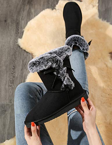Women's Classic Fur Snow Boots Short Winter Boots, Lined Warm Lace up Anti-Slip for Outdoor